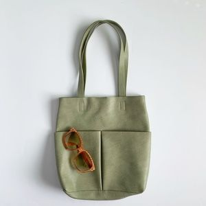 Mossimo Green Faux Leather Tote